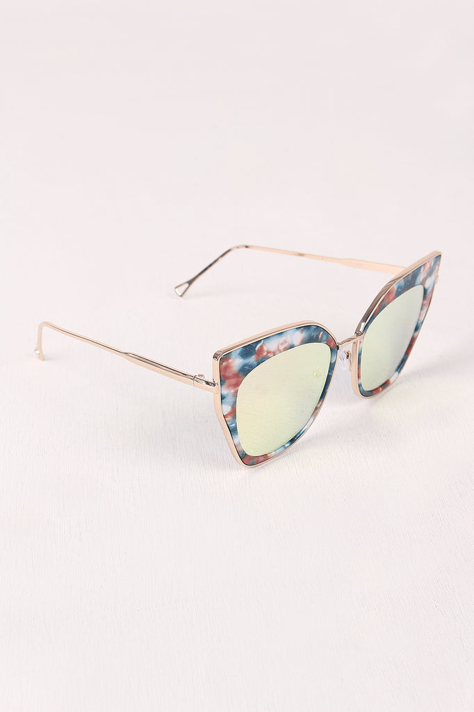 Printed Plastic And Metal Frame Mirrored Cat Eye Sunglasses