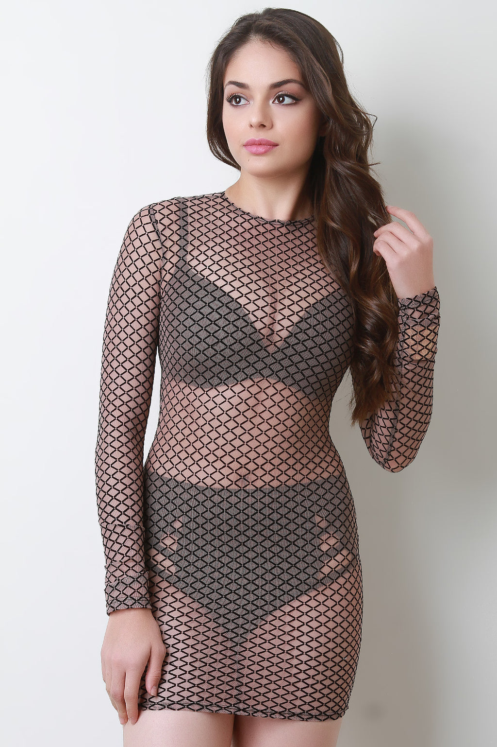 Diamond Pattern Long Sleeve Mesh Mini Dress