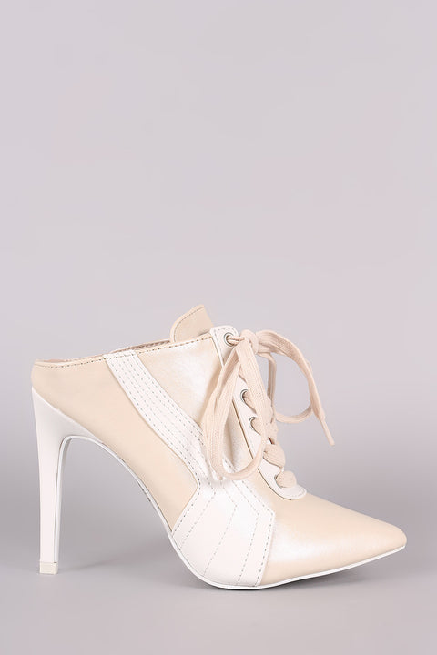 Two Tone Pointy Toe Sneaker Mule Heel