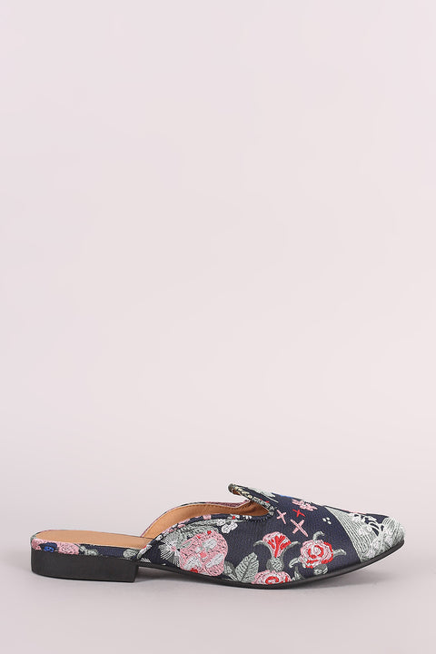 Qupid Floral Brocade Slip-On Loafer Flat