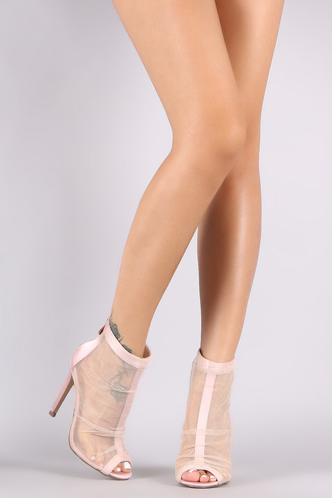 Semi-Sheer Mesh Tulle Peep Toe Satin Stiletto Booties