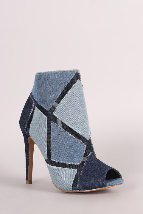Shoe Republic LA Patchwork Denim Mesh Inset Booties