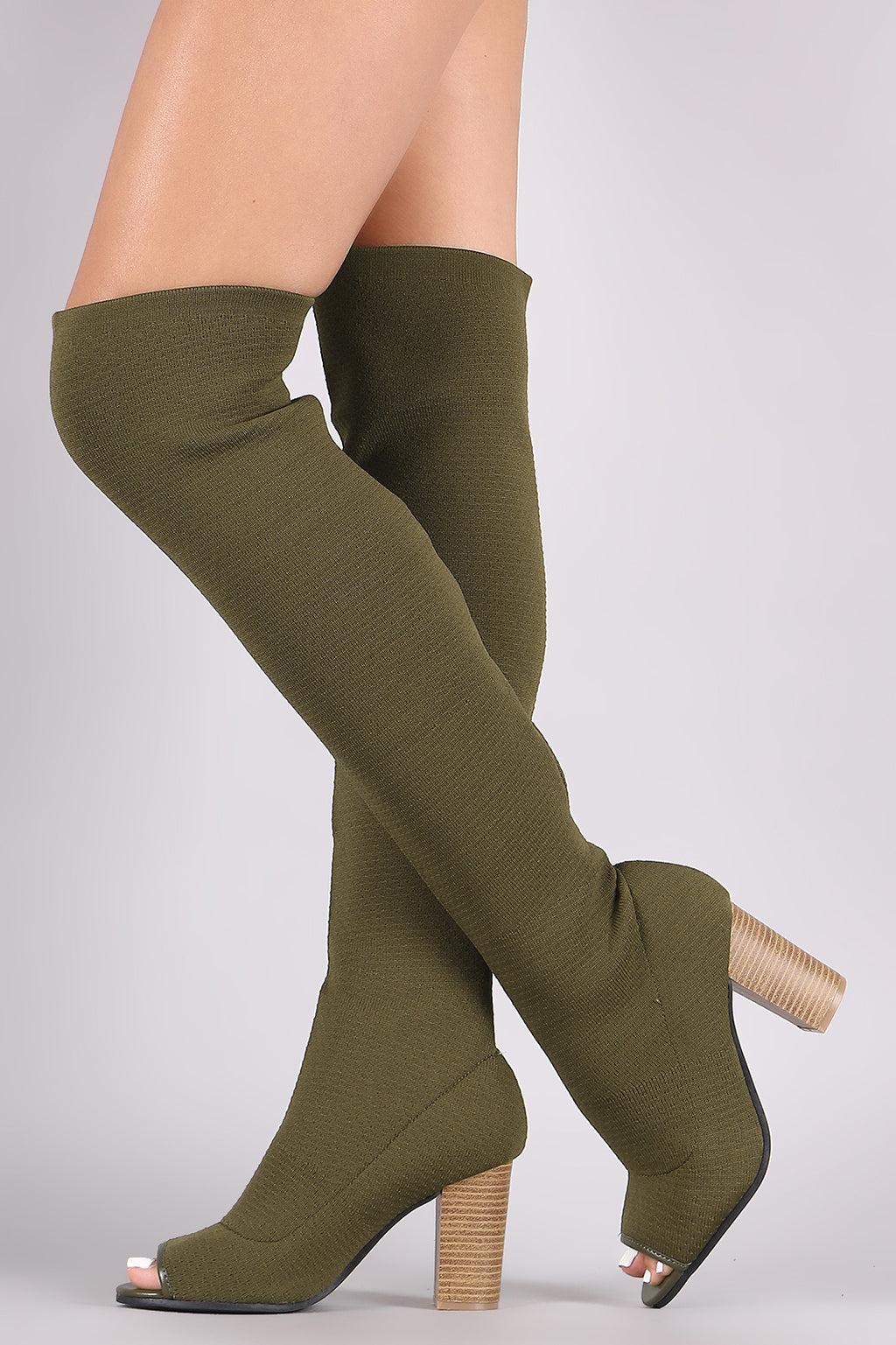 Qupid Stretchy Knit Peep Toe Chunky Heeled Over-The-Knee Boots