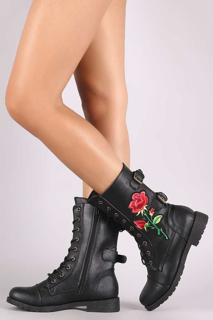 Wild Diva Lounge Rosette And Buckle Mid Calf Combat Boots