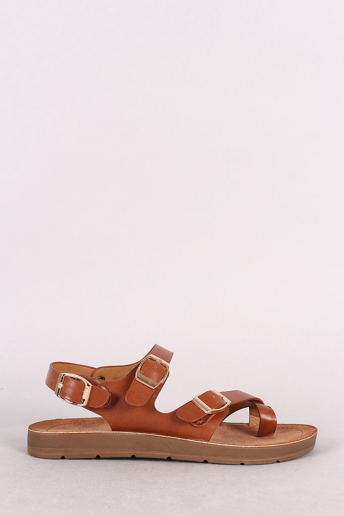 Bamboo Leather Asymmetrical Buckled Toe Ring Flat Sandal