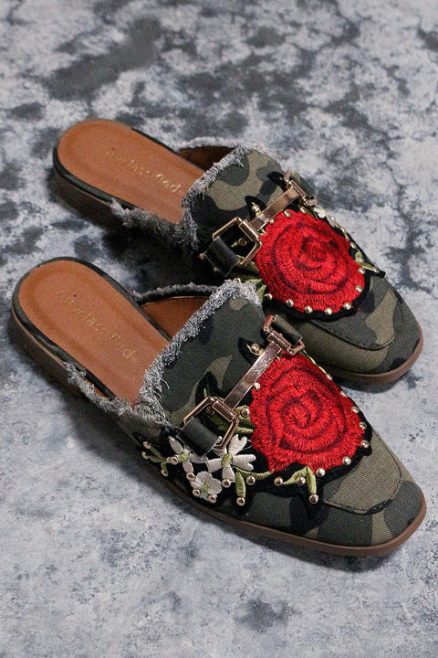 City Classified Embroidered Floral Frayed Denim Mule Flat