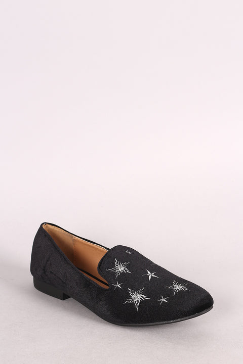 Qupid Velvet Star Embroidered Almond Toe Loafer Flat