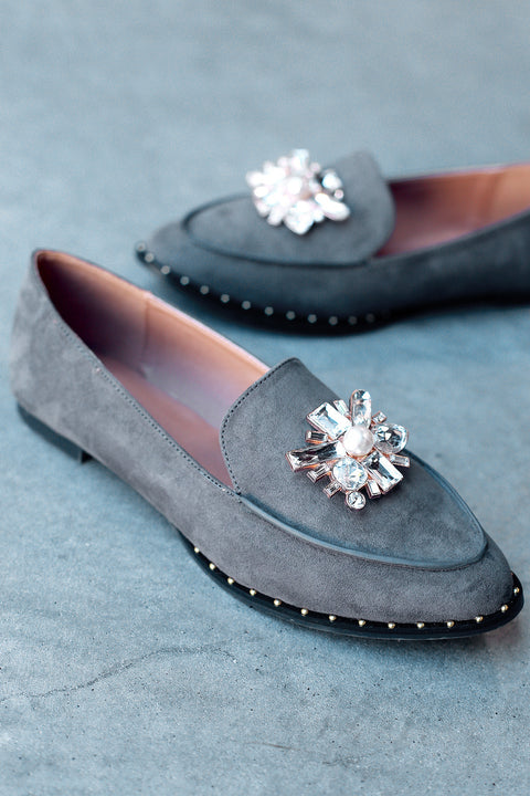 Qupid Jewel Embellished Suede Loafer Flat