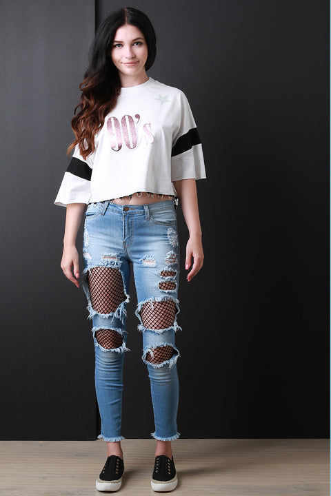 Mid Rise Fishnet Cut Out Denim Jeans, Clothes, Pants & Jeans - Avenue Of Angels