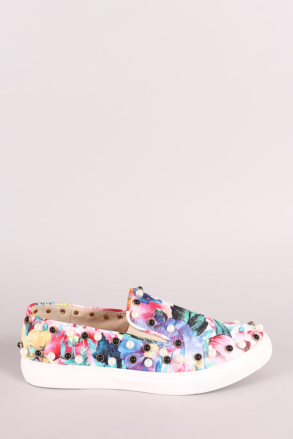 Liliana Floral Print Faux Pearls Embellished Slip-On Sneaker