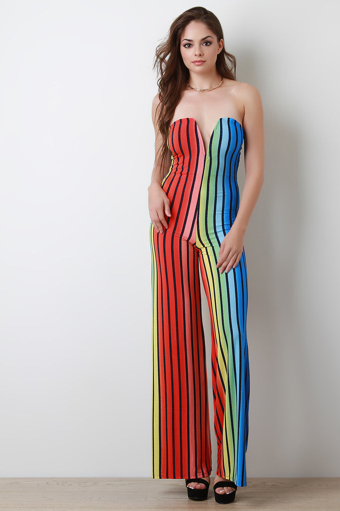 Sweetheart Rainbow Striped Jumpsuit, Clothes, Rompers & Jumpers - Avenue Of Angels