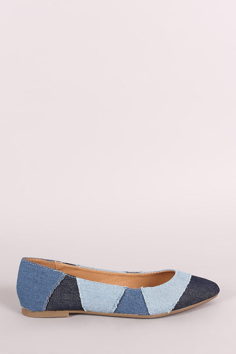 Bamboo Denim Patchwork Pointy Toe Flat