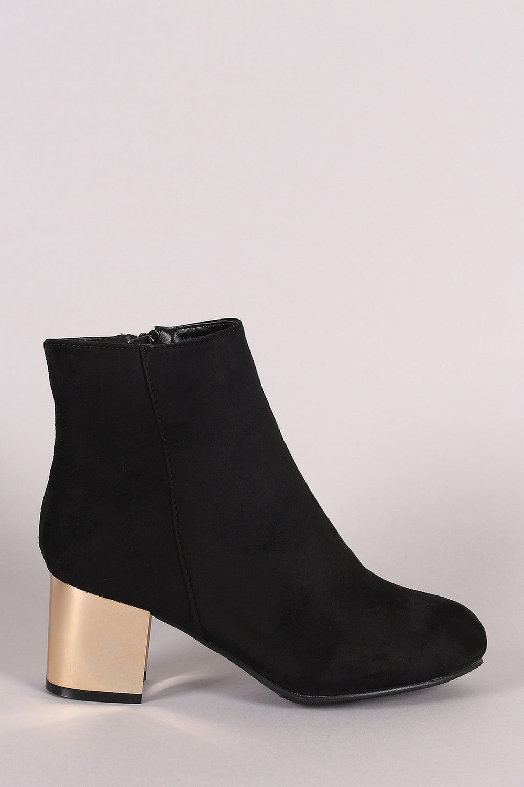 Bamboo Suede Metallic Block Heeled Ankle Boots