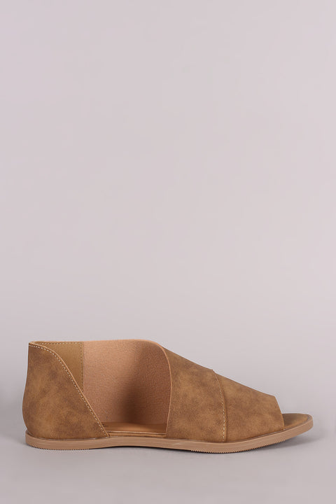 Qupid Distressed Nubuck Peep Toe Dorsay Flat