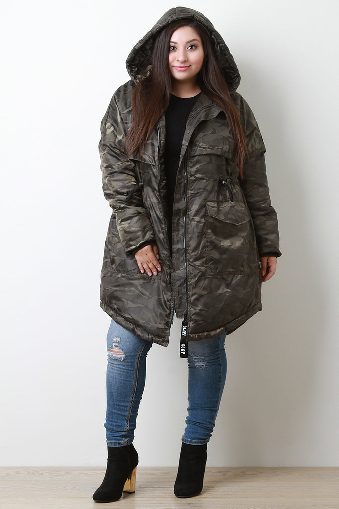 Camouflage Hooded Puffer Parka, Plus Sizes, Outerwear & Jackets + - Avenue Of Angels
