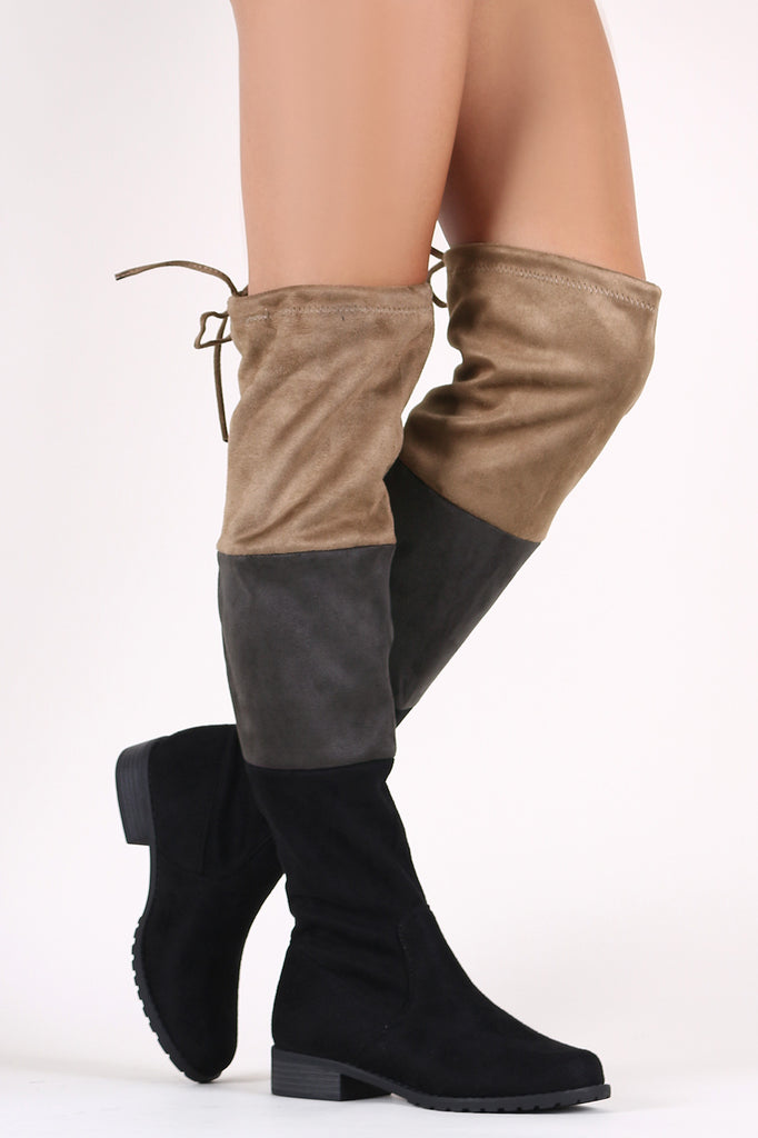 Colorblock Suede Drawstring-Tie Over-The-Knee Riding Boots