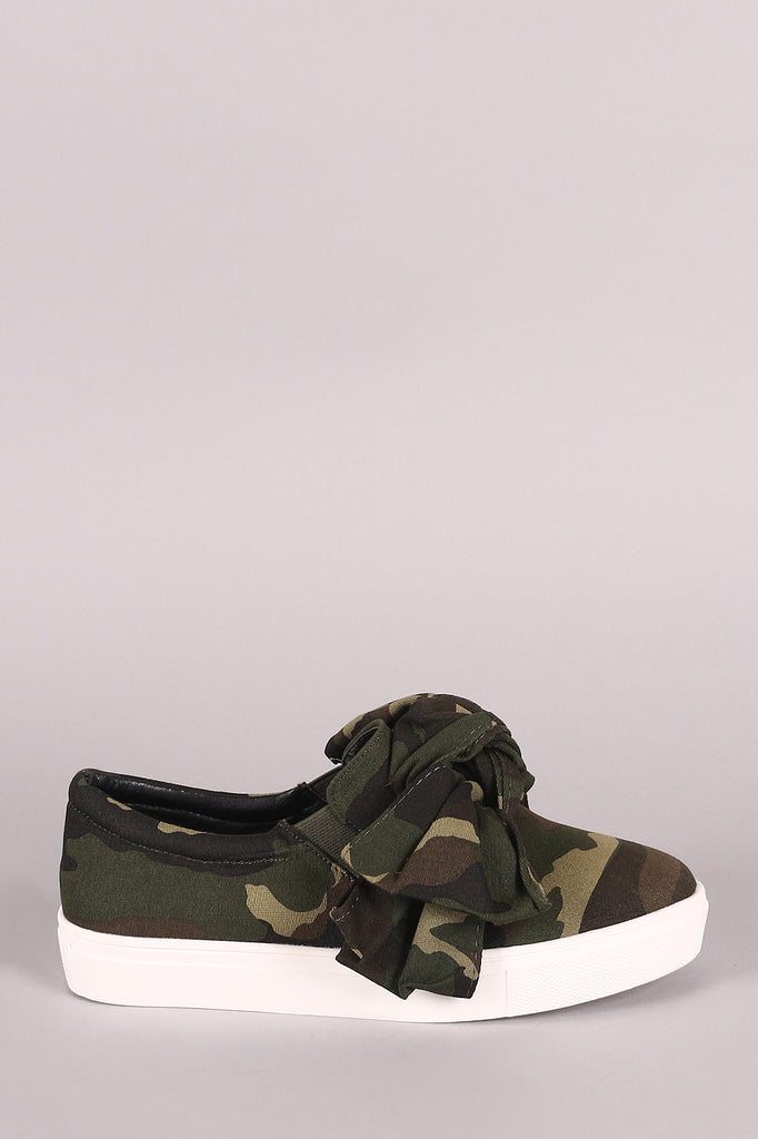 Camouflage Oversized Bow Slip-On Sneaker, Shoes, Sneakers - Avenue Of Angels