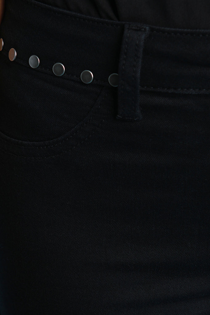 Studded Waist Bootcut Frayed Denim Jeans