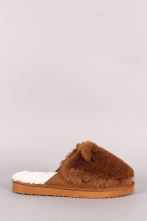 Faux Fur Animal Ear Slip-On Mule Slipper