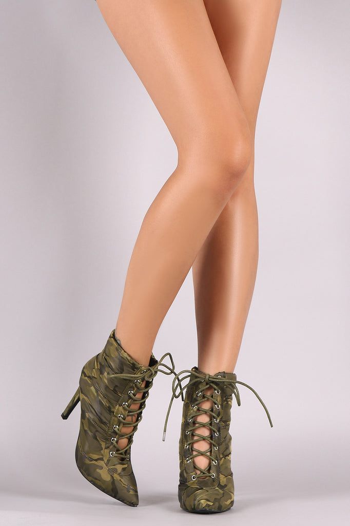 Camouflage Quilted Puffer Lace Up Stiletto Booties, Shoes, Booties - Avenue Of Angels