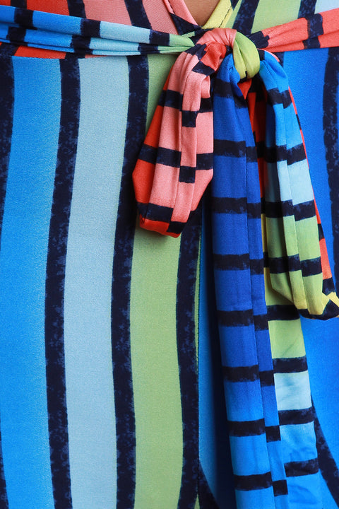 Rainbow Striped Self-Tie Jumpsuit