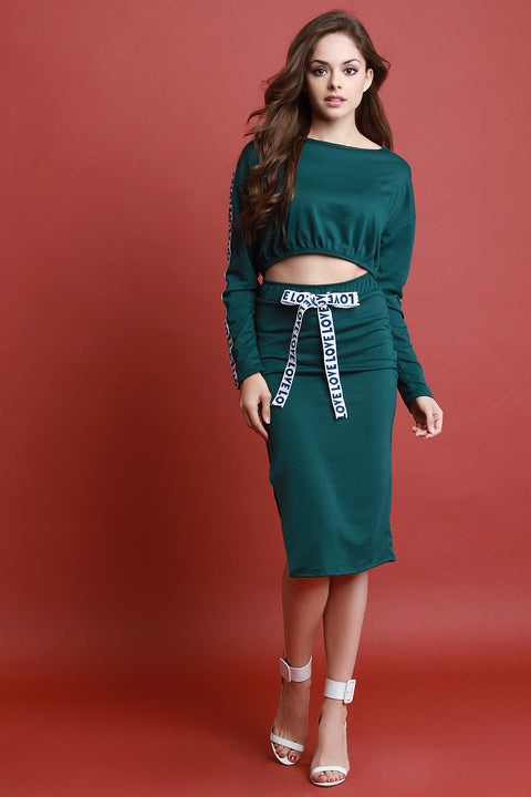 Love Crop Top With High Waisted Midi Skirt Set