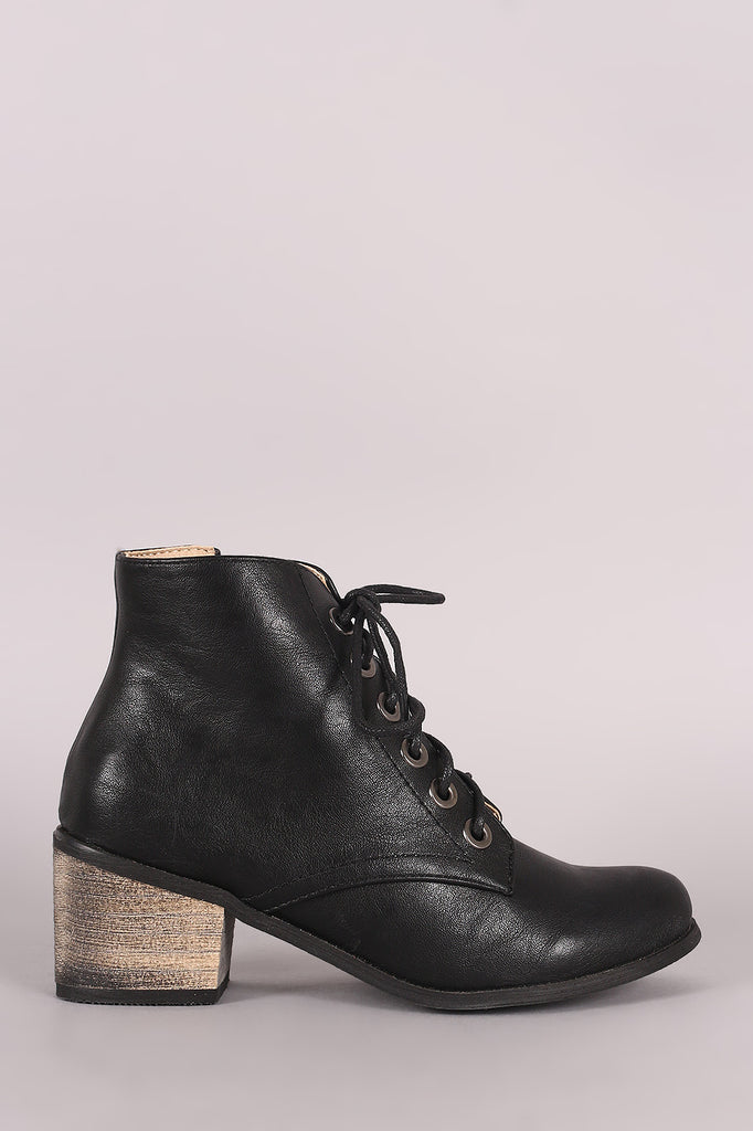 Lace Up Block Heeled Oxford Booties, Shoes, Booties - Avenue Of Angels