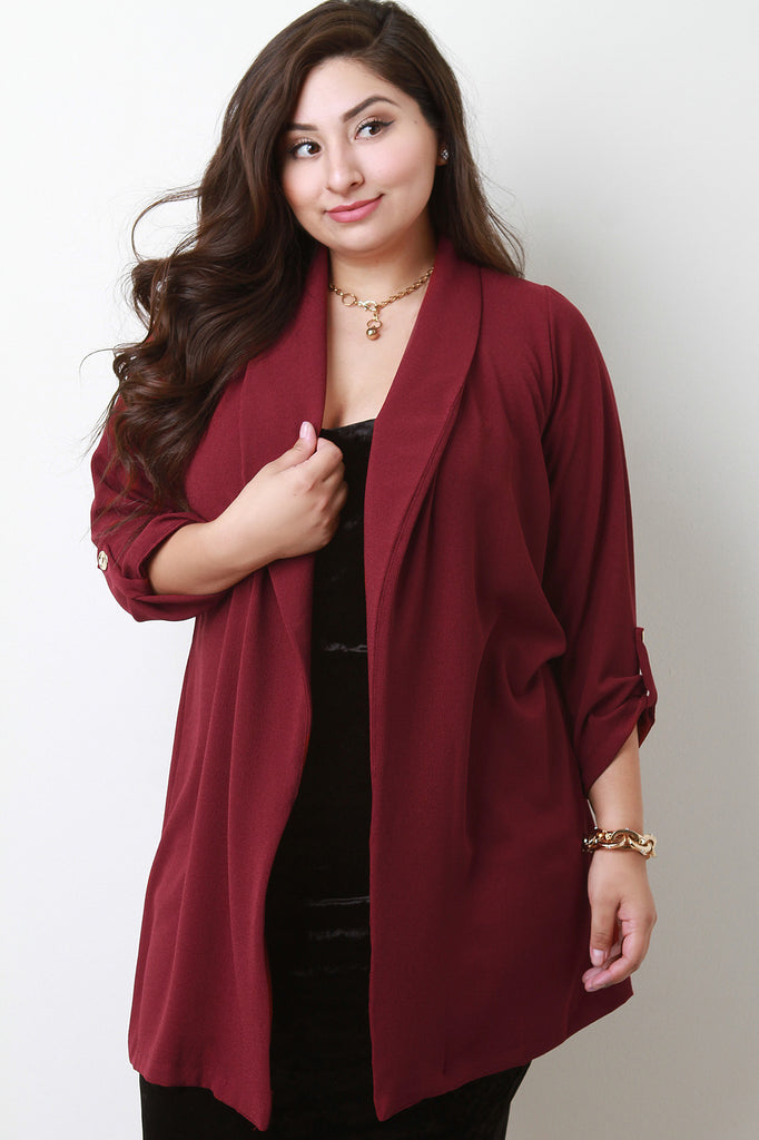 Textured Open Front Quarter Tab Sleeve Cardigan, Plus Sizes, Outerwear & Jackets + - Avenue Of Angels