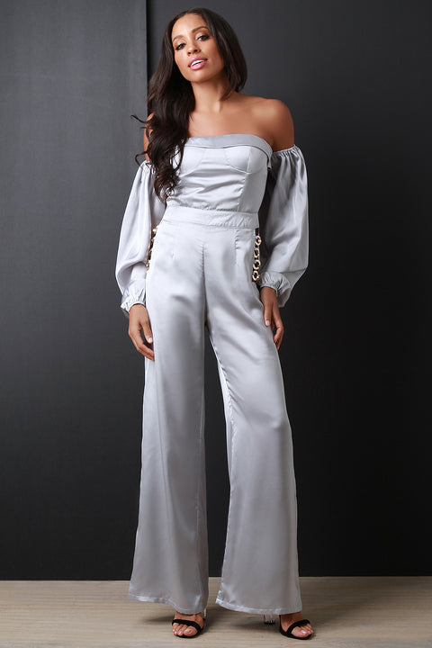 Satin Ring-Link Hips Bardot Jumpsuit