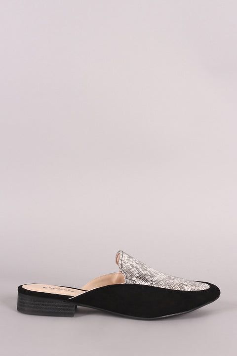 Qupid Python Almond Toe Slip-On Mule Flat