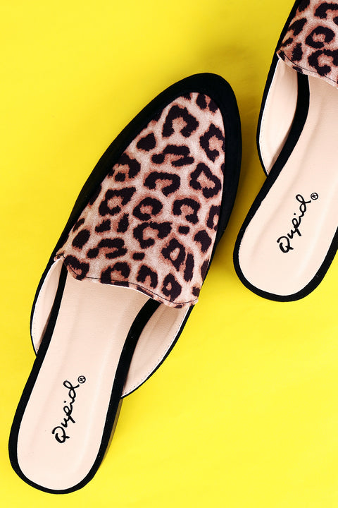 Qupid Leopard Suede Almond Toe Slip-On Mule Flat