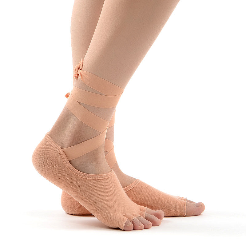 Anti-Slip Yoga Socks With Ribbons Cotton Socks,  - Avenue Of Angels