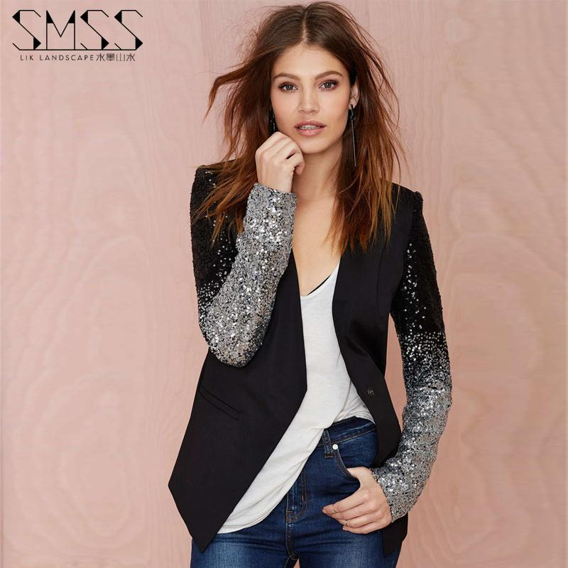 Faux Leather Embroidered Sequined V-neck Slim Motorcycle Jacket
