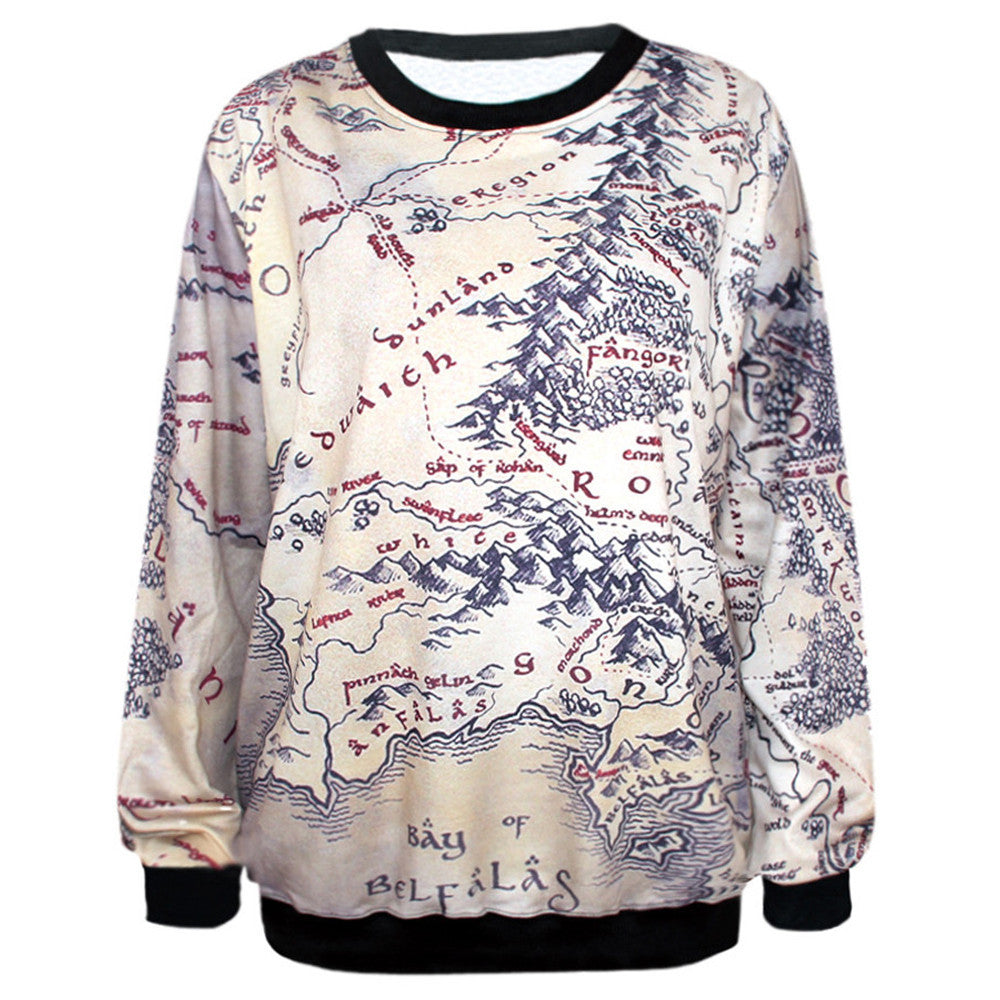 3d Print  Earth Map Pattern Casual Sweatshirt,  - Avenue Of Angels