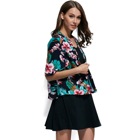 Chiffon Flower Print Kimono Jacket,  - Avenue Of Angels