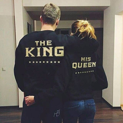 The King and His Queen Love Matching Couple Sweatshirts,  - Avenue Of Angels