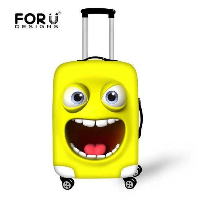 Funny Emoji Face Luggage Cover Elastic Stretch Protect Suitcase Covers,  - Avenue Of Angels