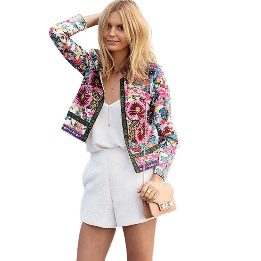 Floral Printed Short Jacket Long Sleeve Outwear
