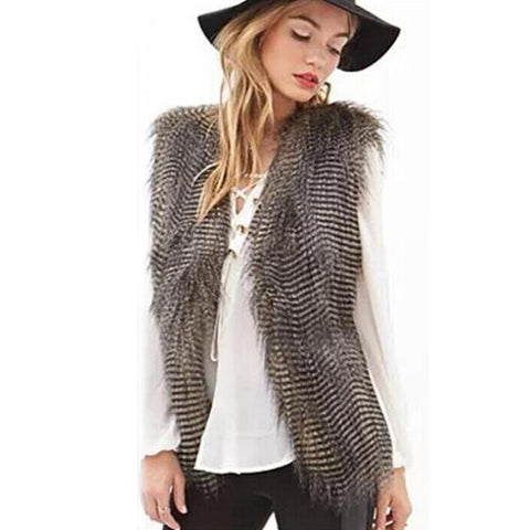 Sleeveless Vest Coat - Faux Fur Long HairJacket