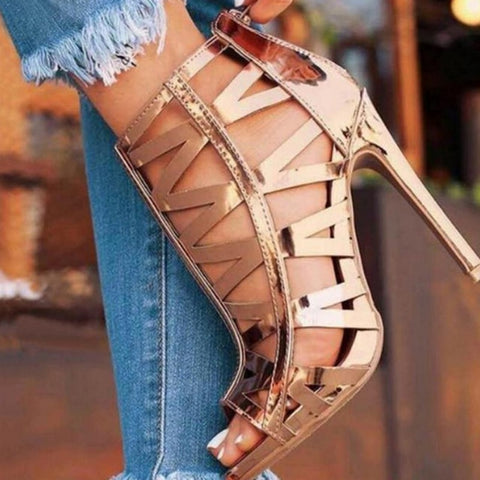 Metallic Open Toe Gladiator Roman High Heels