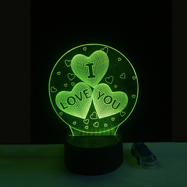 Valentines day Gift 3D Lamp LED Night Light 7 Colors