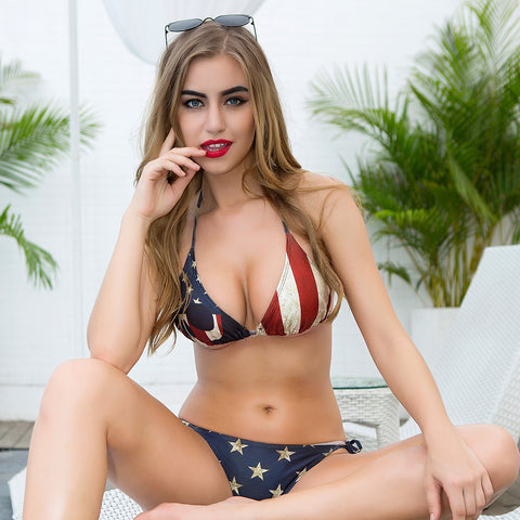 Low Waist American Flag Bikini Set