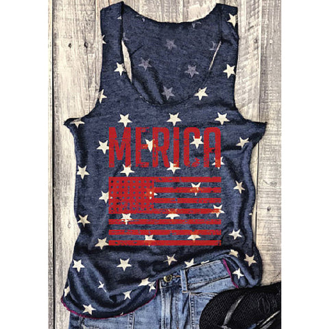 'Merica American Flag Sleeveless Summer T-Shirt