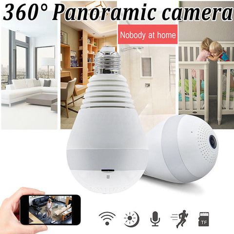 1.44mm AHD 960P Fisheye WIFI Camera Wireless IP Bulb Lamp Panoramic Motion Detection Home Wireless Security Surveillance CCTV