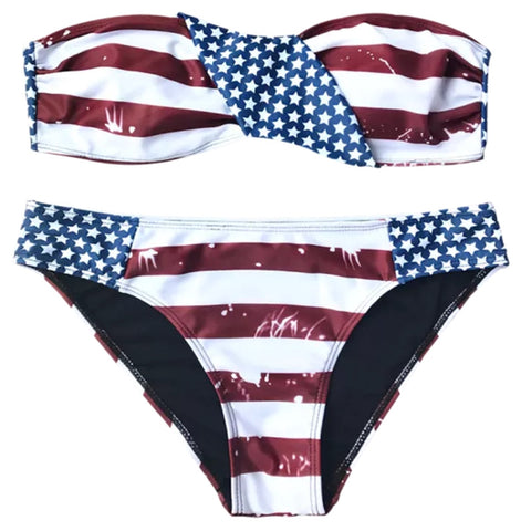 American Flag Patriotic Bandeau Bikini Reversible Swimsuit