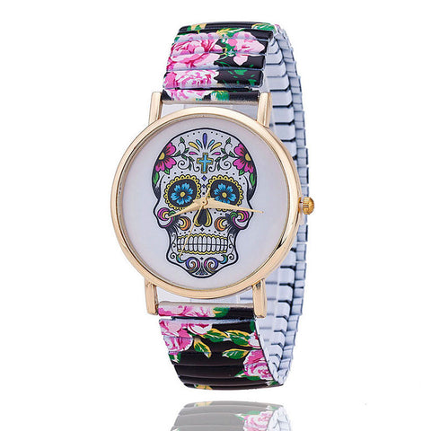 Skull  Quartz Wrist Watch for Lady Gift With Flower Pattern on Band