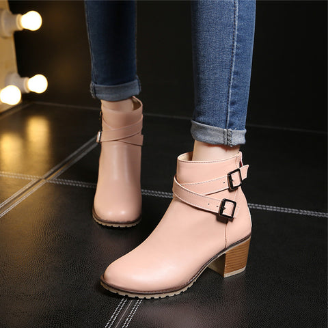 Zipper Chunky Heel Ankle Boots,  - Avenue Of Angels