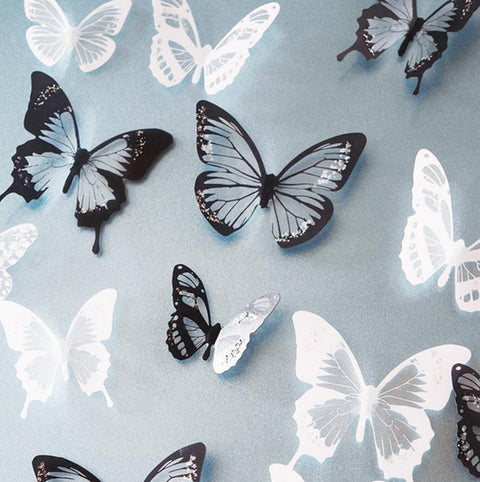 18pcs Black/White Crystal Butterfly Sticker Art Decal Home Decor Wall Mural DIY Decal,  - Avenue Of Angels