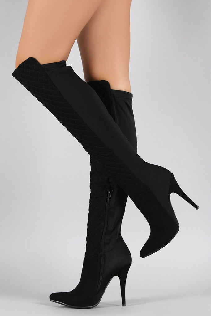 Anne Michelle Suede Quilted Lycra Pointy Toe Stiletto Boots ... : quilted long boots - Adamdwight.com