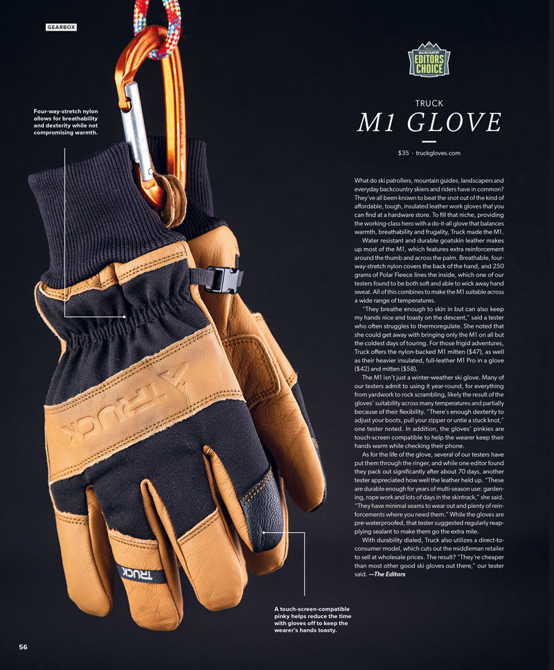 2021 Backcountry Magazine Editor's Choice Award M1 Glove